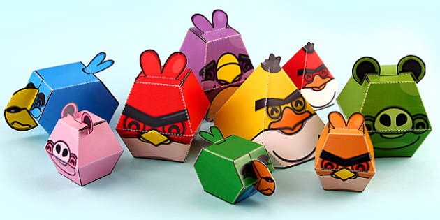 3D Shape Throwing Birds Printable Display - 3d shape, throwing birds, 3d, shape, birds, throw, angry birds, paper craft, paper model, paper, craft, model
