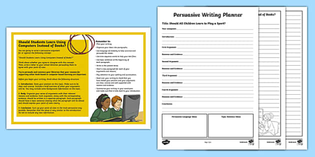 Year 5 Should Students Learn Using Computers Instead of Books? Persuasive Writing Activity Sheet-Australia