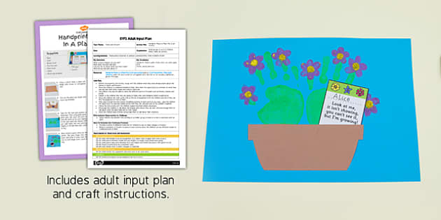 Handprint Plants in a Plant Pot EYFS Adult Input Plan and Craft Pack