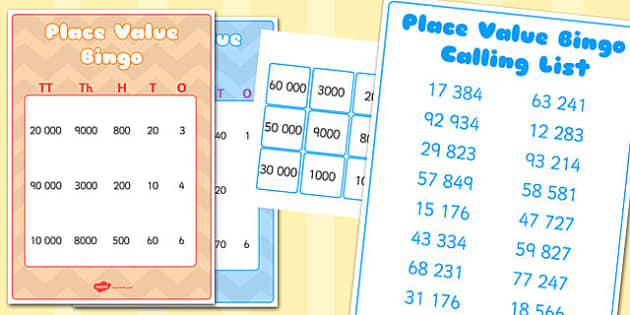 Tens of Thousands, Thousands, Hundreds, Tens and Ones Place Value Bingo