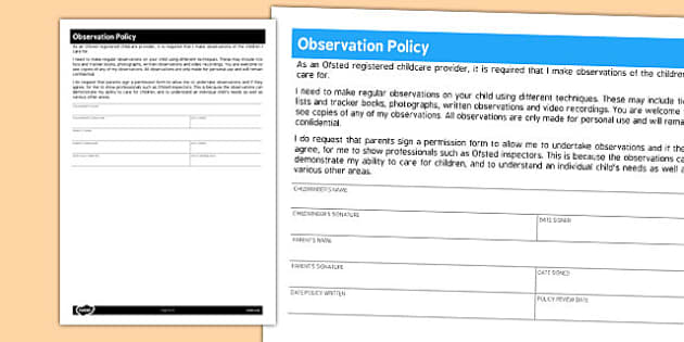 Childminding Observation Policy - policy, child minder, observe