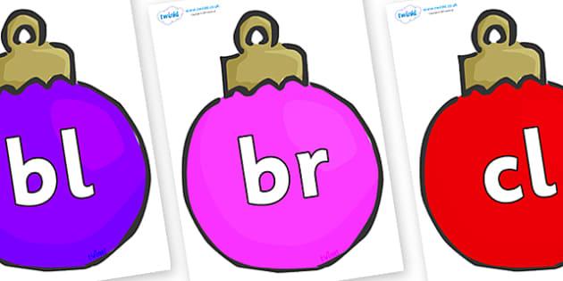 Initial Letter Blends on Baubles (Multicolour) - Initial Letters, initial letter, letter blend, letter blends, consonant, consonants, digraph, trigraph, literacy, alphabet, letters, foundation stage literacy