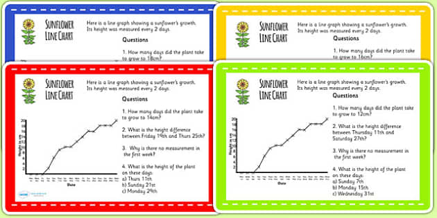 Sunflower Line Graph Challenge Cards - plants, flowers, growth