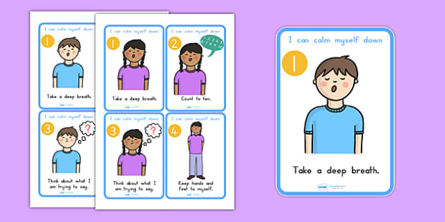 I Can Calm Myself Down Prompt Display Cards - angry, emotions