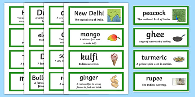 India Vocabulary Cards - india, india key words, india word cards, india vocabulary, indian culture, indian traditions, indian people, ks2 geography, ks2