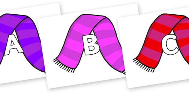 A-Z Alphabet on Scarves - A-Z, A4, display, Alphabet frieze, Display letters, Letter posters, A-Z letters, Alphabet flashcards