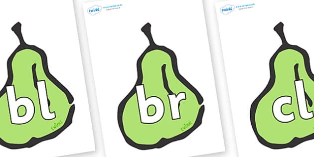 Initial Letter Blends on Pears - Initial Letters, initial letter, letter blend, letter blends, consonant, consonants, digraph, trigraph, literacy, alphabet, letters, foundation stage literacy