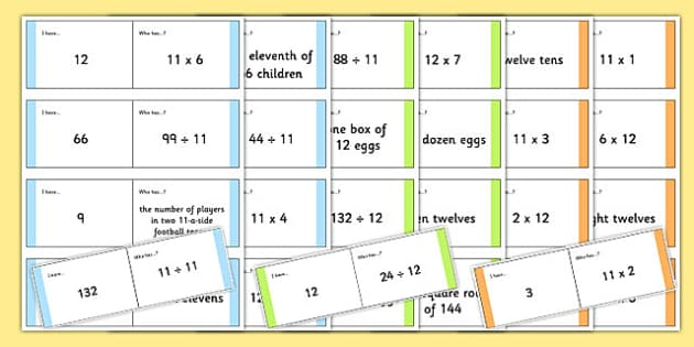 11 Times and 12 Times Tables Loop Cards - eleven, twelves, time, tables, game, activity, multiplication, multiply, ks2, revision, revise, reinforce, recap, maths, times table, times tables