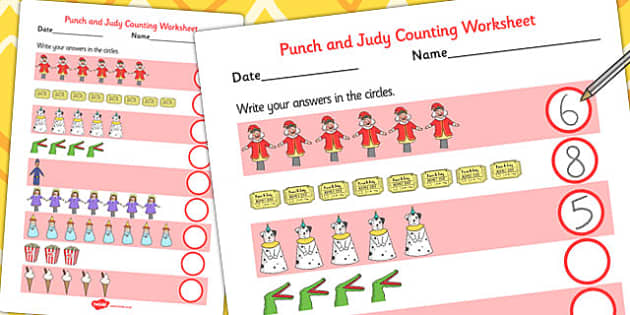 Punch and Judy Counting Sheet - counting, sheet, number, maths