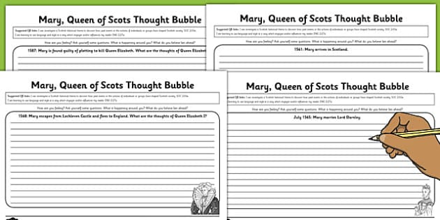 Mary Queen of Scots Thought Bubble Worksheet Pack - mary, queen, scots