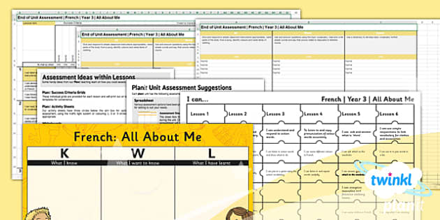 PlanIt - French Year 3 - All About Me Unit Assessment Pack - planit, french, year 3, all about me, assessment pack