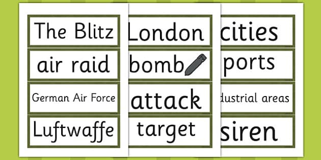 The Blitz Word Cards - the blitz, word cards, word, cards, ww2