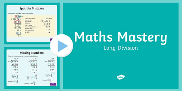 Year 6 Calculation Long Division Maths Mastery Activities