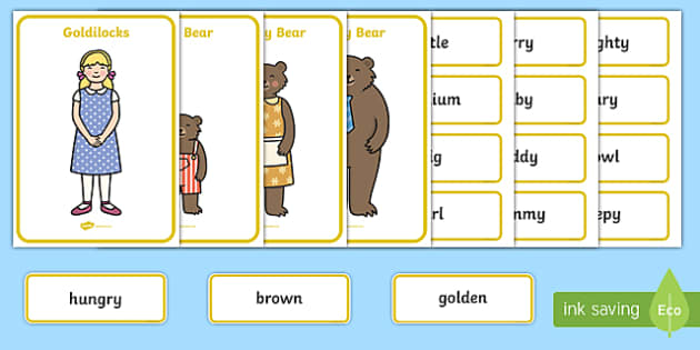 Goldilocks And The Three Bears Character Describing Word Activity