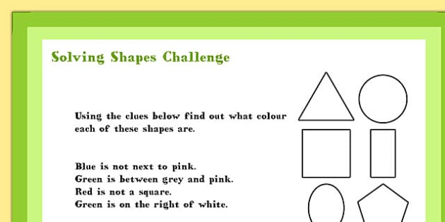 A4 KS1 Solving Shapes Maths Challenge Poster - Shapes, Solve