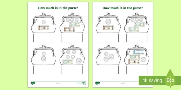 How much money in the purse activity? (UAE) Fill in the Blank Activity Sheet