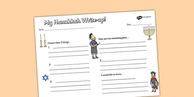 Hanukkah Write Up Worksheet - hanukkah, write up, worksheet, judaism