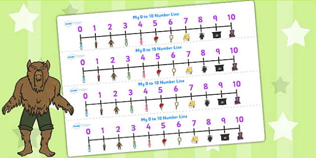 Beauty and the Beast Number Lines 0 10 - counting aid, count