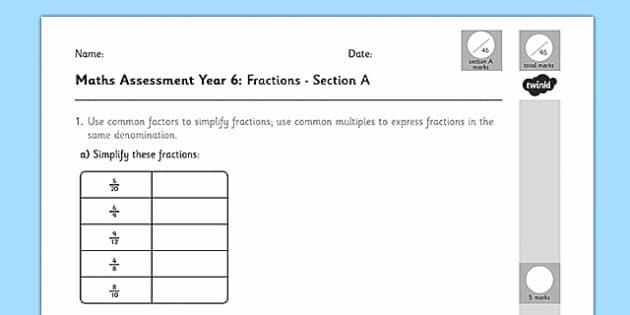 Year 6 Maths Assessment: Fractions Term 1 - maths, assessment, fractions