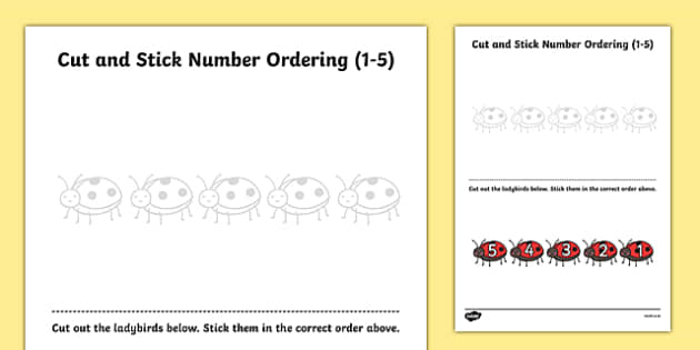 Ladybird Themed Cut and Stick Number Ordering Activity 1-5 - minibeast, cut and stick, number ordering, number, order, activity