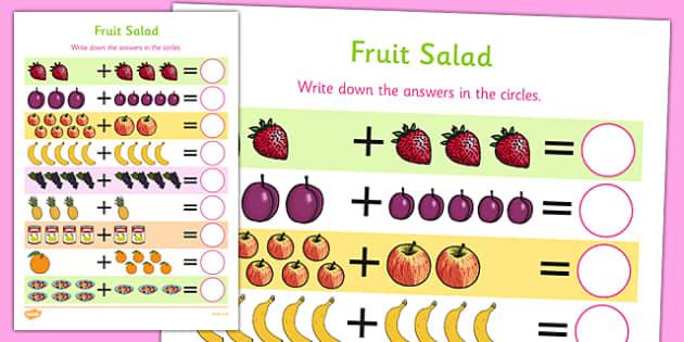 Fruit Salad Up to 10 Addition Sheet - olivers fruit salad, fruit salad, 10, addition, sheet, add