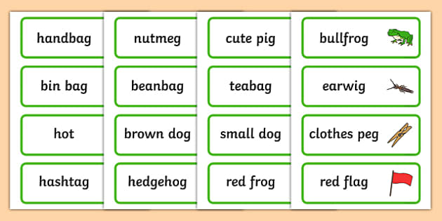 Two Syllable Final G Sound Word Cards - syllable, final, g, sound