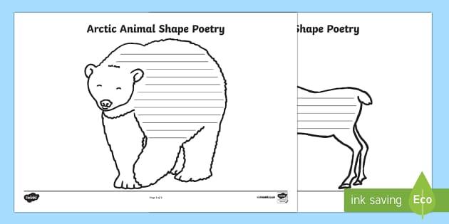 Arctic Animals Shape Poetry - The Arctic, Polar Regions, north pole, south pole, explorer, poems, poetry, shape poems, arctic anim