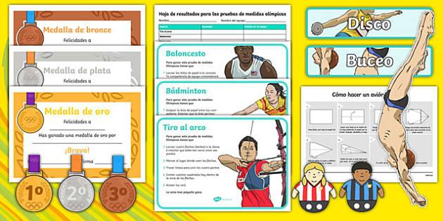 Measure Olympics Spanish Challenge Cards