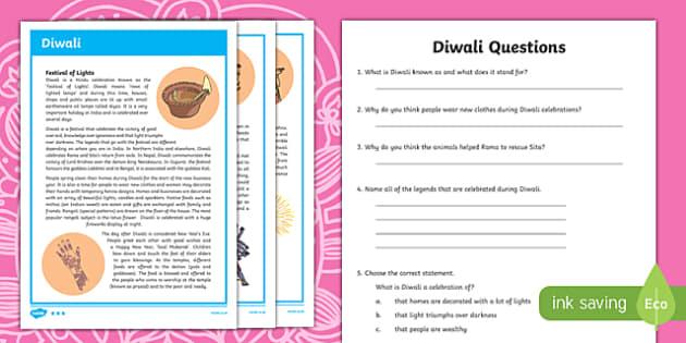 Diwali Differentiated Comprehension Challenge Sheet