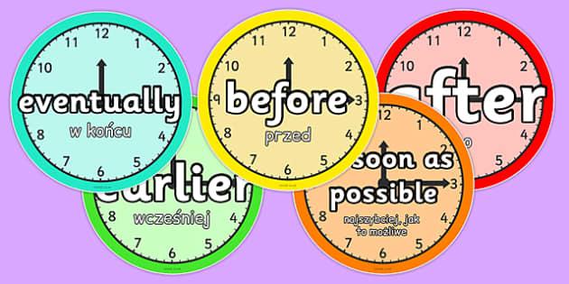 Time Conjunctions Clocks Polish Translation - polish, connectives