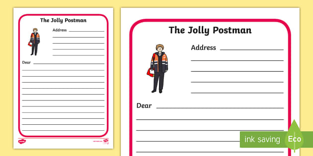 Letter Writing Frames to Support Teaching on The Jolly Postman - blue, postman, jolly, letter, templates, Janet Ahlberg, independent writing, Cinderella, story, story book, book resources, Three Bears, wolf, gian, goldilocks, postcard, witch, palace