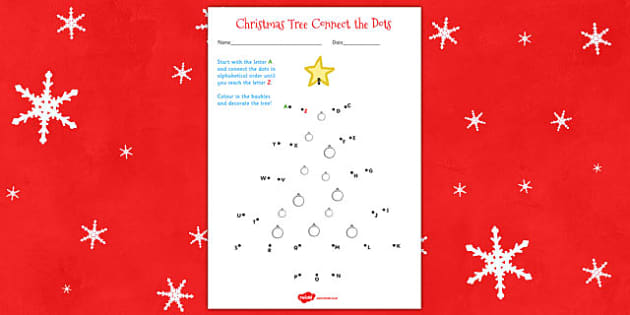 Christmas Tree Connect the Dots Worksheet - christmas, worksheet