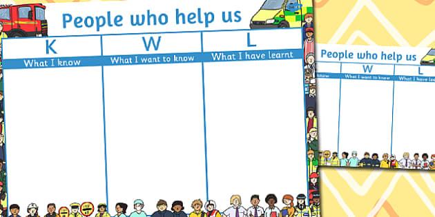 People Who Help Us Topic KWL Grid - people who help us, kwl, grid