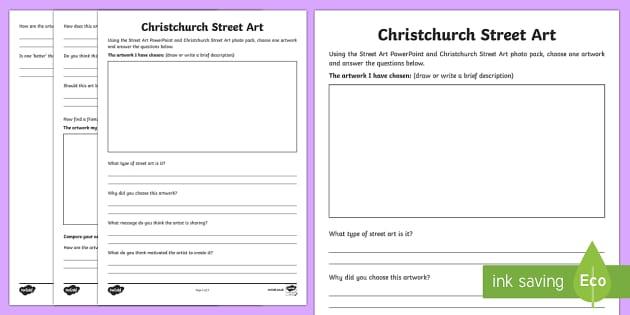 Christchurch Street Art Study Activity Sheet - New Zealand Natural Disasters, earthquake, tsunami, volcano, monsoon, hurricane, flood, tornado, wor