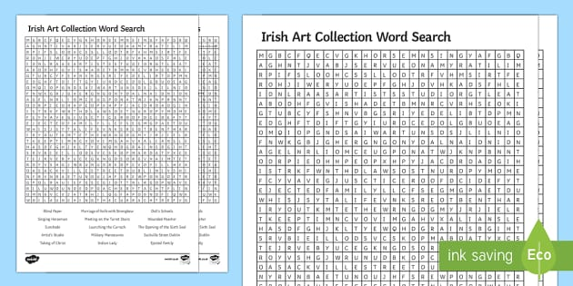 Irish Art Collection Word Search - Irish Art Resources, art strands, display resources, art appreciation, word search, artist, personal