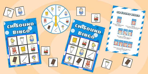 ch Sound Bingo Game with Spinner - ch sound, sound, sounds, bingo