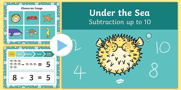 Under The Sea Themed Subtraction to 10 PowerPoint - under the sea, subtraction, powerpoint, 10