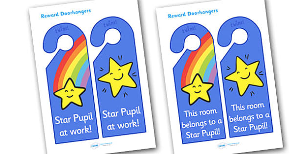 Star Pupil Reward Door Hangers - star pupil reward door hangers, star pupil, reward, door hangers, door, hangers, rewards, award, pupils, good, best, sign, label