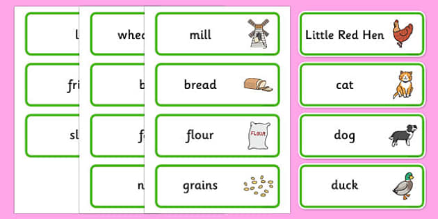Little Red Hen Word Cards - story books, flash cards, visual aid