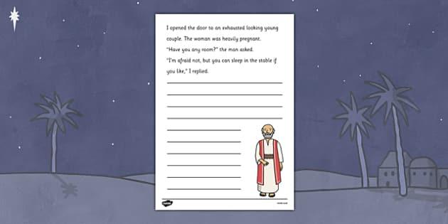 Nativity Story Starter Innkeeper - christmas, xmas, story, starter, story starter, stories, writing, writing stories, story starter about an innkeeper, inkeeper, literacy, writing aid, creative writing, writing prompt, writing inspiration,