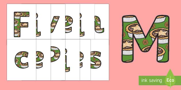 Five Mince Pies Nursery Rhyme Display Lettering - five mince pies, nursery rhyme, rhyme, rhyming, christmas, food, santa, display lettering, display, letter