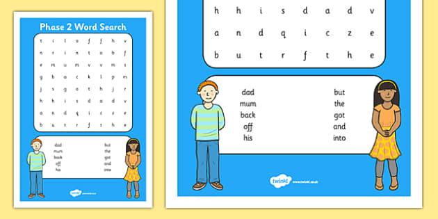 Phase 2 Word Search - phase 2, word search, wordsearch, phase, 2, activity