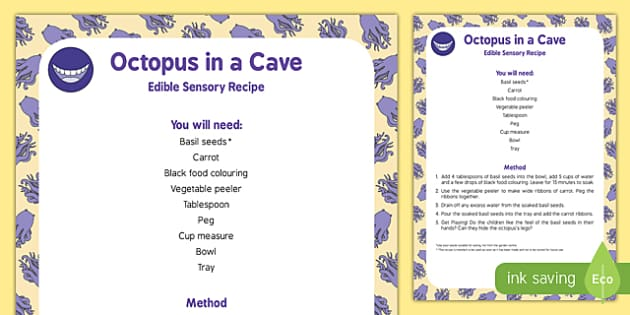 Octopus in a Cave Edible Sensory Recipe