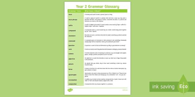 Year 2 Grammar Glossary - year 2, glossary, grammar, english