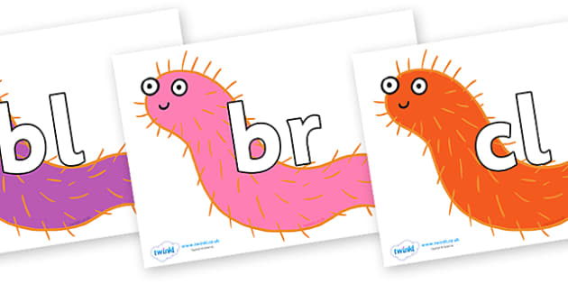 Initial Letter Blends on Bristle Worm to Support Teaching on Sharing a Shell - Initial Letters, initial letter, letter blend, letter blends, consonant, consonants, digraph, trigraph, literacy, alphabet, letters, foundation stage literacy