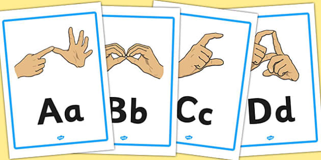 British Sign Language Manual Alphabet A4 Posters - posters, a4