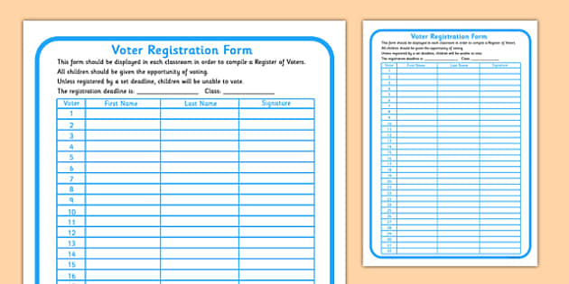 School Council Election Voters Registration Form - school council, election, SMSC
