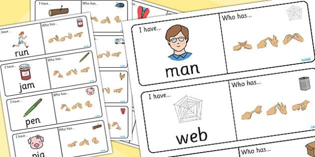 CVC Loop Cards With British Sign Language Fingerspelling - cvc