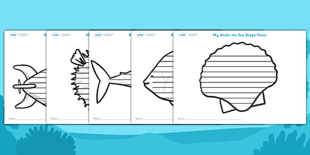 Under the Sea Shape Poetry Writing Templates - under the sea, under the sea shape poetry, fish shape poetry, fish poetry templates, under the sea poetry