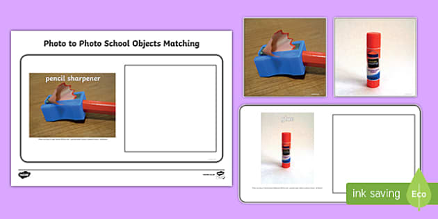 Workstation Pack: Photo to Photo School Objects Matching Activity
